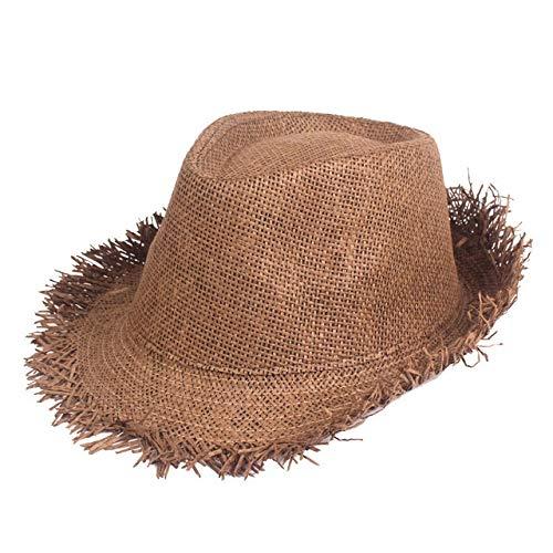 GHC gorras y sombreros Moda Verano Sombrero de sol Verano Viajes color sólido del salacot Ronda Holiday Sun Sombrero de la playa del sombrero de vaquero de paja trenzada Gorra for el sol for los hombr