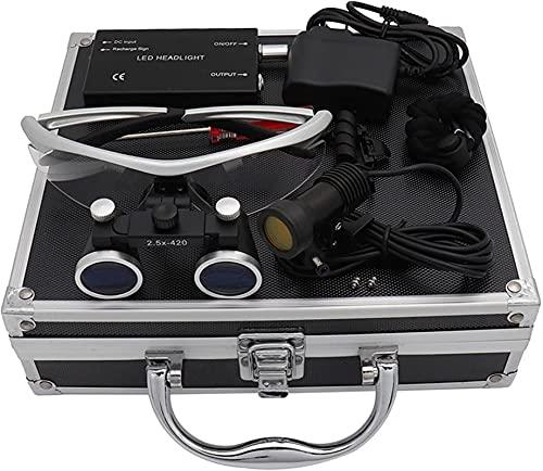 Lupa con luz, lupas binoculares, Lupa Binocular con Diadema Dental 2.5X / 3.10X, Utilizada en odontología, o en Pasatiempos, con LED