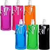 Blulu 6 Pieces Collapsible Water Bottle Reusable Drinking Water Bottle with Clip for Biking, Hiking Travel, 6 Colors