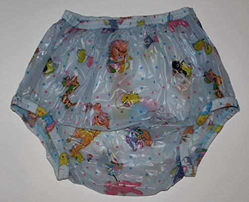 PVC Adult Baby Inkontinenz Windelhose Gummihose blau kindermotiv (L)