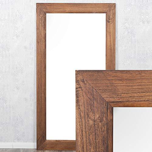 LEBENSwohnART Spiegel Linda 100x50cm Flamed Wood Blauglockenbaum-Holz massiv Wandspiegel