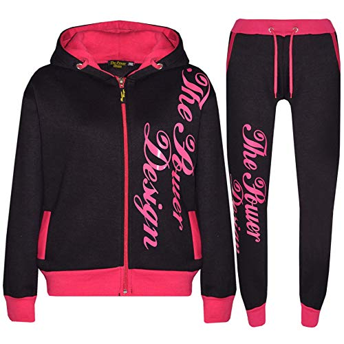 A2Z 4 Kids® Kinder Jungen Mädchen Trainingsanzug Schwarz & Rosa Designer - T.S PD 301 Black Pink.7-8