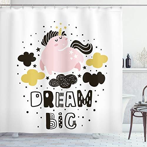 ABAKUHAUS Sueño Cortina de Baño, Unicornio en el Cielo con Estrellas, Material Resistente al Agua Durable Estampa Digital, 175 x 200 cm, Rosa Amarillo Negro Tierra
