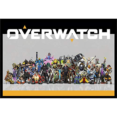 Overwatch Wall Art Decor Framed Print | 24x36 Premium Poster | Funko Pop Video Game Character Cover Artwork | D.va All Character Cosplay Memorabilia Gifts for Guys & Girls Bedroom & House Decorations