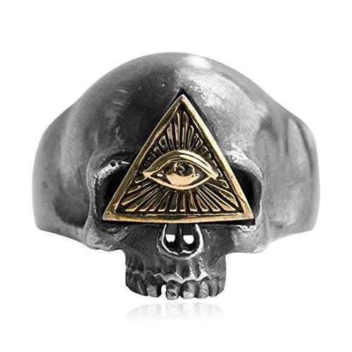 Aienid Banda de Boda Compromiso Anillo 925 Libra Esterlina Anillo para Hombres Cráneo Ojo Plata Tamaño 20