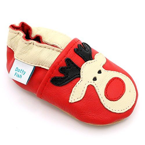 Dotty Fish Weiche Baby und Kleinkind Lederschuhe. Rotes Rentier. Mädchen und Jungen. 6-12 Monate (19 EU)
