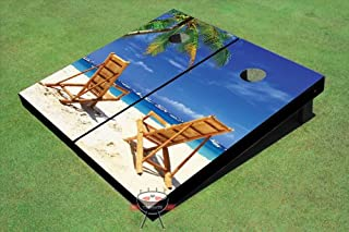 Custom Tailgate Beach Chairs Facing Each Other Theme Cornhole Boards