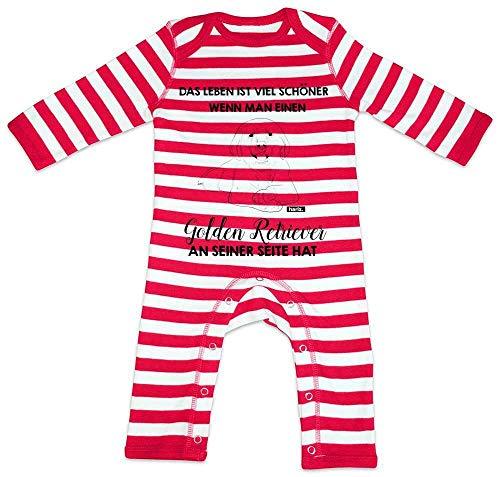 """Hariz - Pelele para bebé, diseño de rayas con texto en alemán """"Das Leben ist Viel Schöner Golden Retriever"""", incluye tarjeta de regalo rojo Bomberos rojo/blanco lavado. Talla:12-18 meses"""