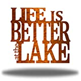 Riverside Designs Life is Better at The Lake Metal Art Steel Wall Decor Sign (24', Copper)