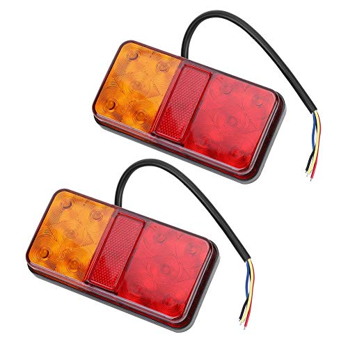 Akozon Fanale posteriore 2 pezzi Fanale posteriore 10LED universale 10-30V Fanale posteriore rimorchio fanale posteriore per camion rimorchi barca roulotte(Rosso Giallo)