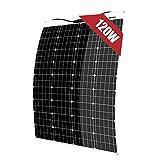 12V 120W Pannello Solare Monocristallino Flessibile Cella Portatile Impermeabile Fotovoltaico Modulo per Camper, Roulotte, Auto, Batteria 12V, Tetto, RV, Barca