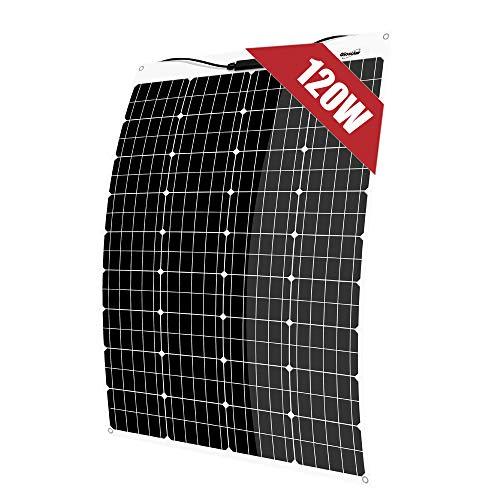 120W 12V Solarmodul Solarpanel Flexibel Monokristallin Solarzelle Photovoltaik Solarladegerät Dünnschichtsolarmodule mit MC4 Ladekabel für Wohnmobil, Auto, Boot 12V Batterien