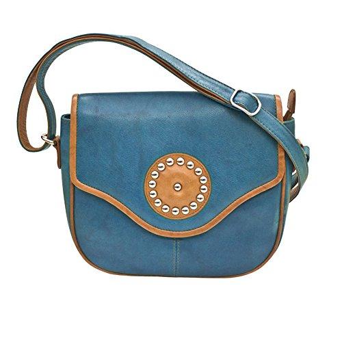 ili Umhängetasche Satteltasche Leder 6572, Blau (Jeans Blau/Antik Sattel), Einheitsgröße