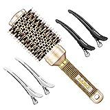 Cepillo redondo AIMIKE, cepillo para el cabello en cerámica nano térmica y tecnología iónica, cepillo redondo con cerdas de jabalí para peinar (barril de 1,7 pulgadas)