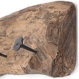 DESIGN DELIGHTS WANDGARDEROBE TREIBHOLZ 50 | 50x12cm (LxH), Recyclingholz Vintage Garderobe mit 4 Kleiderhaken, rustikale Hakenleiste aus Holz für die Wand - 5