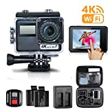 Escytegr Action Camera 4K WiFi Waterproof Cam Touch Screen Sports Camera with Remote Control,2 Batteries and Charger,Mounting Accessories Kit Plus Free Travel Bag