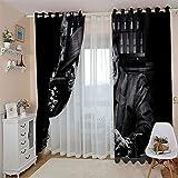 cortinas opacas salon estampadas 52x108 Inch Negro fumando calavera botella de vino Cortinas Opacas Proteccion Privacidad Aislamiento Calor Reduccion Ruido Térmico para Salón y Dormitorio con Ojales 2