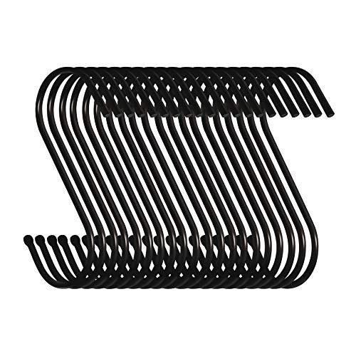 Swatowot Pack de 20 ganchos en forma de S para colgar ropa de cocina, baño, dormitorio y oficina (20 unidades, grandes, negros)