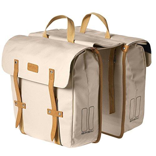 Basil Gepäckträgertasche Portland-Slimfit Double Bag Fahrradtasche, Creme, 33 x 11 x 35 cm