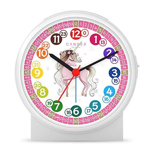 Cander Berlin MNU 1709 kinderwekker wekker kinderen geruisloos eenhoorn geluidloos educatief horloge licht snooze tafelklok verlichting geluidsarm eenhoorn