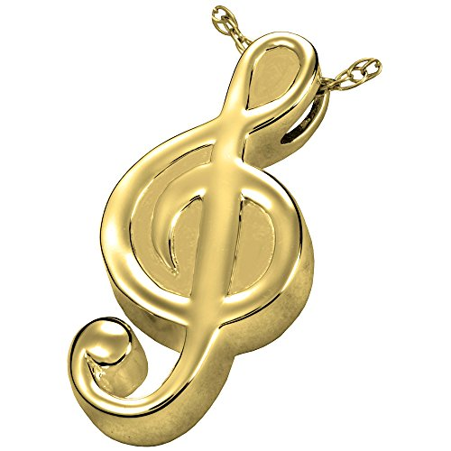 Cremation Memorial Jewelry: Gold Plated Treble Clef + Text Engraving