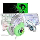 Teclado con cable Mouse Combo Set 104 teclas Teclado para juegos con retroiluminación LED 4-en-1 + 2400 dpi Ratón óptico + Auriculares Rainbow Light + Alfombrilla para mouse para PC portátil