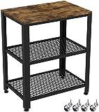 IRONCK Küchenwagen, Servierwagen, Grilltisch, Rollwagen für Küche, 3 Ablagen, Industrie Holz-Look Möbel mit Metallrahmen