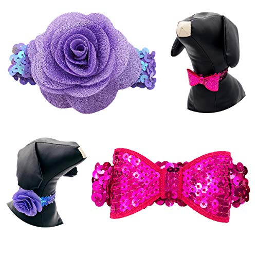 PET SHOW Small Dogs Necklaces Bling Cat Puppy Elastic Collar Bows Bowties Flowers Stretchy Party Costume Grooming Accessories Pack of 2