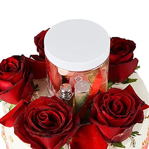 Soporte para tarta de regalo sorpresa, regalo de cumpleaños con portador de cubierta (blanco), una sola capa