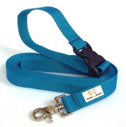 DOGS and MORE - VERLÃNGERBARE Schleppleine mit LÖSBARER Handschlaufe - Basis 5 Meter (Blau; 25 mm breit) / Suchleine/Feldleine