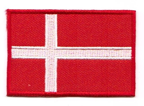 Aufnäher Bügelbild Aufbügler Iron on Patches Applikation Flagge Dänemark 4,5 x 3cm Vor20-5-M