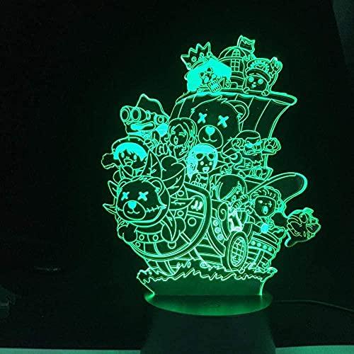 FUTYE Otaku - Luz de noche LED de ilusión en 3D, cambio de color, decoración interior, perfecta para un regalo de una sola pieza, regalo de cumpleaños para niños y Navidad