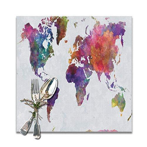 Strawberryran Dibujado a Mano Acuarela Multicolor Mapa del Mundo Asia Europa África América Geografía Imprimir 12 X 18 en Juego de 4
