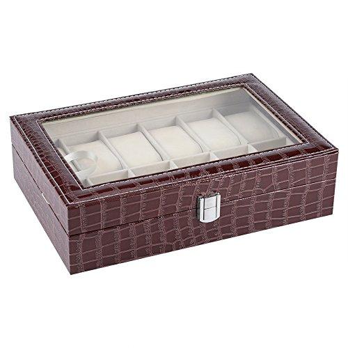 Agatige 12 weiche Uhrenboxen für Männer Frauen, 7,87 x 11,81 x 3,15 Zoll Uhrenhalter Uhrengehäuse mit abnehmbarem Uhrenkissen für zu Hause(Kaffee)