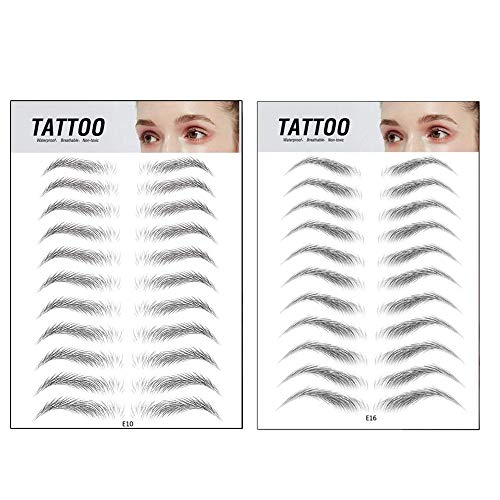 Top Beauty 2Pcs 4D Authentic Eyebrows Like Hair, Natural Tattoo Eyebrow Stickers, Waterproof Long Lasting Brow Shaper Makeup Eyebrow Transfers For Women Men-Set 4