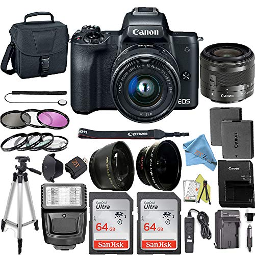 Canon EOS M50 Mirrorless Camera Kit with 15-45mm Lens + 2pc SanDisk 64GB Memory Cards + Accessory