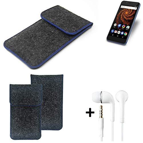 K-S-Trade® Filz Schutz Hülle Für Allview X4 Soul Mini S Schutzhülle Filztasche Pouch Tasche Handyhülle Filzhülle Dunkelgrau, Blauer Rand Rand + Kopfhörer