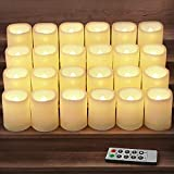 HOME MOST Set of 24 LED Votive Candles with Timer and Remote (Ivory Body with Warm White Glow) - Flickering Flameless Votive Candles Battery Operated - Bulk Rustic Wedding Decorations Reception Table