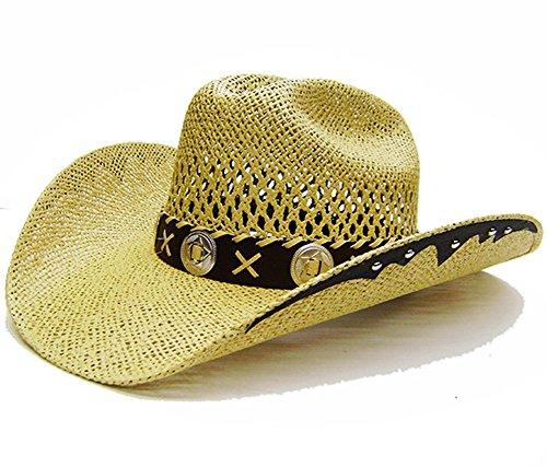 Modestone Unisex Open Weave Large Brim Straw Chapeaux Cowboy Light Yellow