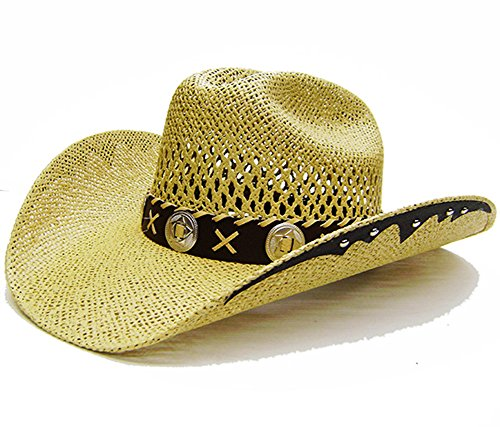 Modestone Unisex Open Weave Large Brim Straw Chapeaux Cowboy Light Yellow