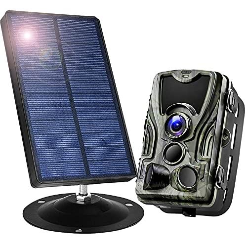 1800Mah 9V Panel Solar Portátiles con Cámara De Caza 16MP 1080P Impermeable IP66 Ángulo De Visión 120° Camino De Vida Silvestre De La Cámara para Seguimiento Cinegético De Fauna,A
