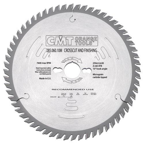 CMT 285.060.10M 250 mm de diámetro x 60t ATB hoja de sierra de acabado fino con orificio de 30 mm (3,2 mm)