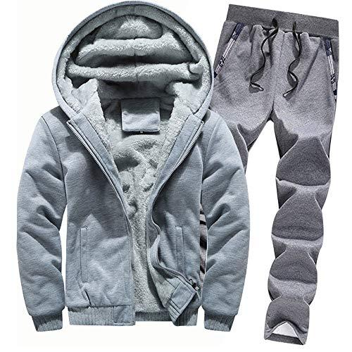 Aiserkly Herren Freizeitanzug Sportanzug Trainingsanzug Hoodie+Sporthose Winter Camouflage Warme Fleece Tracksuit Streetwear Zwei-Teilig Outwear Coat Pullover Top Hosen Sets X-F-Grau 4XL