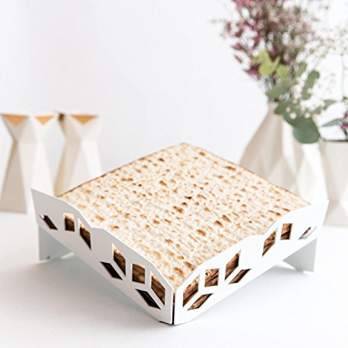 Passover Unique Gift - Modern Matzo Tray- White Metal Matzah Plate with Laser-Cut Geometric Design - Made in Israel