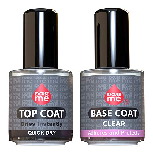 Excuse Me Duo Set Quick Dry Fast Top Coat + Base Coat Clear Long Lasting 15 ml / 0.5 oz