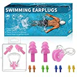 Swimming Ear Plugs,6 Pairs Reusable Silicone Earplugs with Nose Clip,Comfortable,Waterproof,Soft.Ear Plugs for Swimming Shower,Bath,Pool,Lake.Ear Plugs Also Blocked Noise for Sleeping (Adults&Kids)