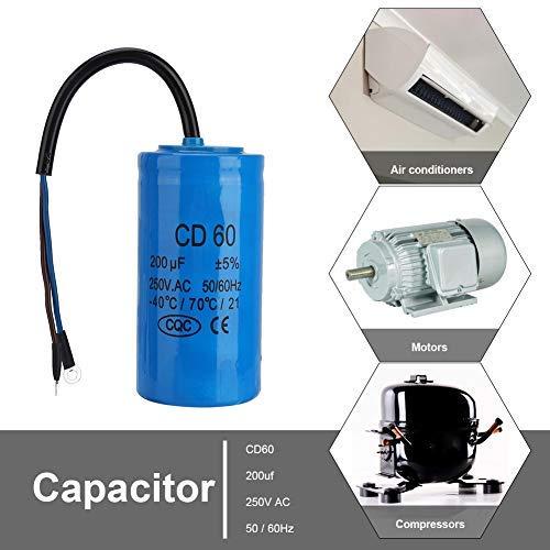CD60 condensator 250 V 200 uf, Jectse bedrijfscondensator motorcondensator startcondensator met goede slagvastheid, sterke overbelastbaarheid voor airconditioning, compressoren en motoren