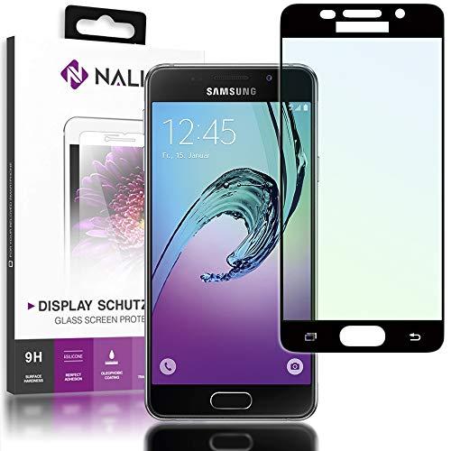 NALIA Cristal Templado Compatible con Samsung Galaxy A3 2016, Vidrio Blindado Película Protectora Display Cobertura, 9H Dureza Protector de Pantalla Tempered-Glass, Color:Negro