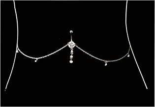 Eyraevor Women Sexy Rhinestone Dangle Belly Button Ring with Waist Chain Crystal Drop Pendant Navel Piercing Body Jewelry
