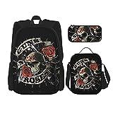 Guns'N-Roses-Skull (3) Mochila de viaje para acampar juvenil, mochila escolar de 3 piezas, bolsa de escuela+bolsa de almuerzo combinación